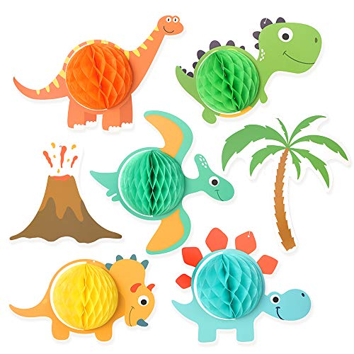 Dinosaur & Volcano Party Decorations and Supplies for Kids Birthday Party, Dino Honeycomb Decoration Centerpieces for Boys and Girls Baby Showers, T-Rex, Triceratops, Stegosaurus, Hanging Wall Décor (Centerpieces For Boy Birthday)