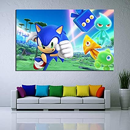 Framed Sonic The Hedgehog Game Canvas Print Wall Art Home 5 Piece