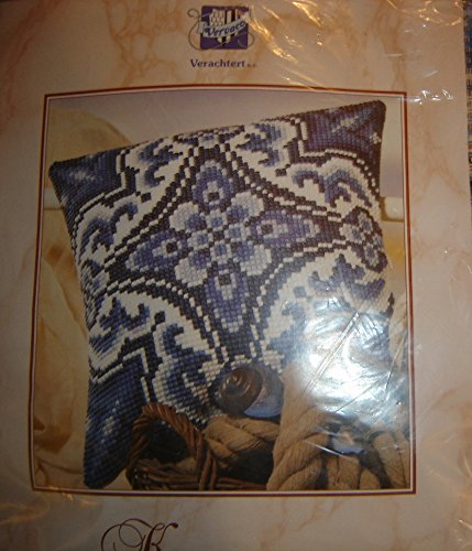 Vervaco Cross Stitch Needlepoint Pillow Kit, Blue/White Delf