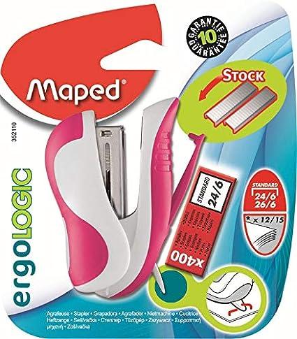 Coloris Vert livr/é avec une boite de 400 agrafes r/éserve dagrafes et /ôte-agrafes int/égr/és Maped Ergologic Mini Agrafeuse pour agrafes 24//6 ou 26//6
