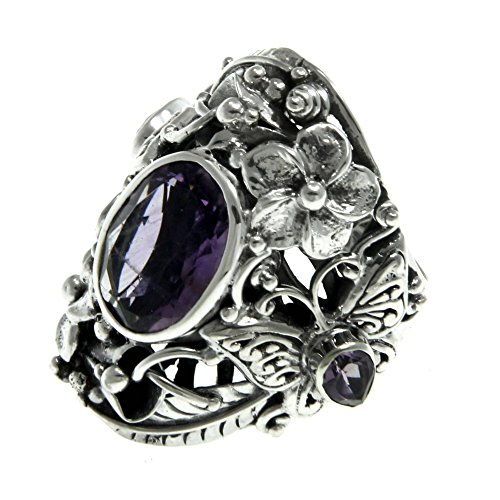 Silver Large Butterfly Ring - NOVICA Amethyst Multigem .925 Sterling Silver Cocktail Ring, 'Frangipani Butterfly'