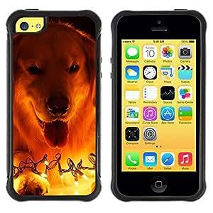 Suave TPU GEL Carcasa Funda Silicona Blando Estuche Caso de protección (para) Apple Iphone 5C / CECELL Phone case / / Labrador Golden Retriever Christmas Lights /