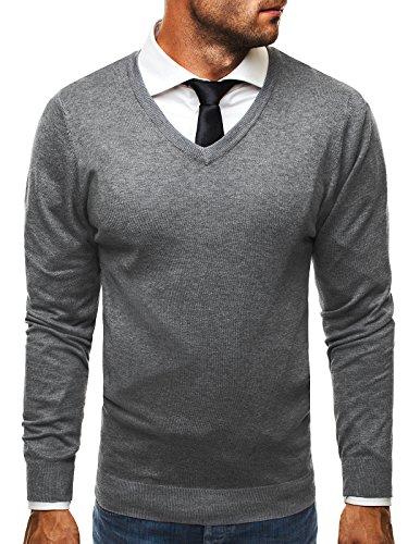 OZONEE Herren Pullover Feinstrick Sweatshirt Pulli BRUNO LEONI M008 M GRAU