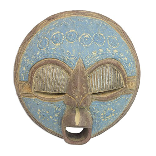 anaian Sese Wood and Aluminum Mask, Blue 'New Love' ()
