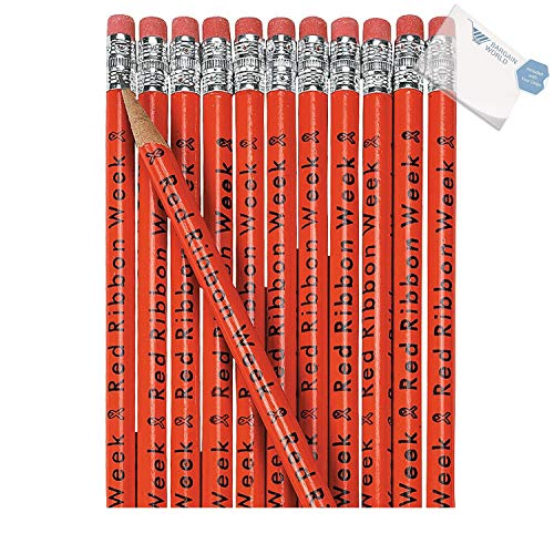 (Bargain World Wooden Red Ribbon Week Pencils (With Sticky)