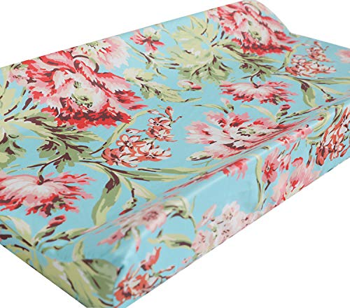 Baby Girl Floral Crib Bedding Changing Pad Cover (Aqua Coral)