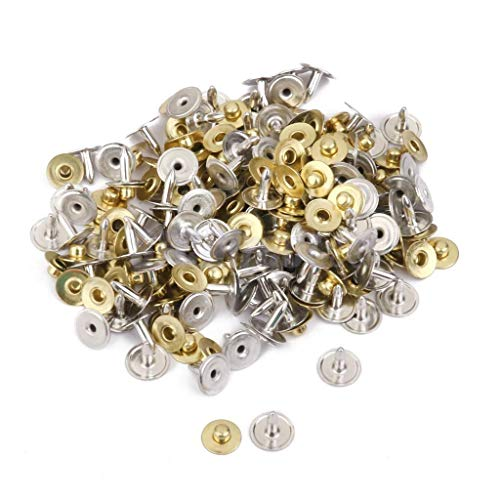 MOPOLIS 100 Set Rivets Fasteners Studs Button Sewing Leather Craft Bag Jeans Pocket 8 mm | Color - Gold ()