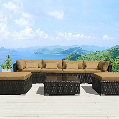 Modenzi 7C U Outdoor Sectional Patio Furniture Espresso
