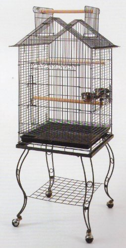 20-Inch Open/Close Pagoda Roof Plays Top Parrot Lovebird Cockatiel Cockatiels Parakeets Cage with Stand, Black Vein, My Pet Supplies