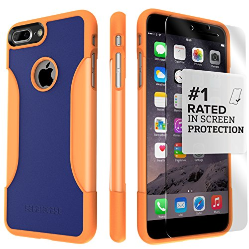 (iPhone 8 Plus and 7 Plus Case, SaharaCase Protective Kit Bundled with [ZeroDamage Tempered Glass Screen Protector] Rugged Slim Fit Shockproof Bumper [Hard PC Back] Protection – Blue Orange)