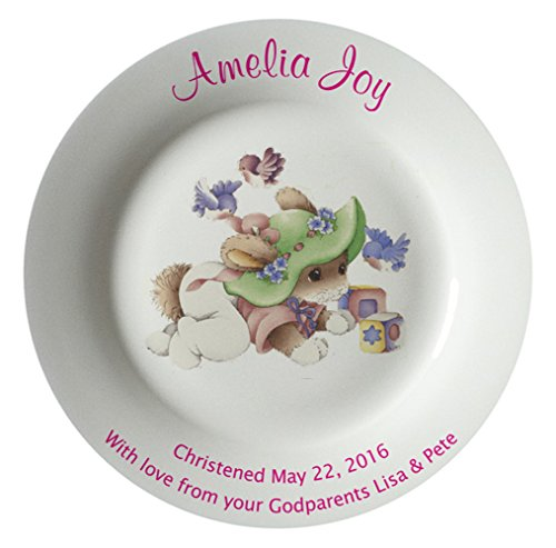 Personalized Birth Plate with a Plain Rim - Green Sleepytime Design