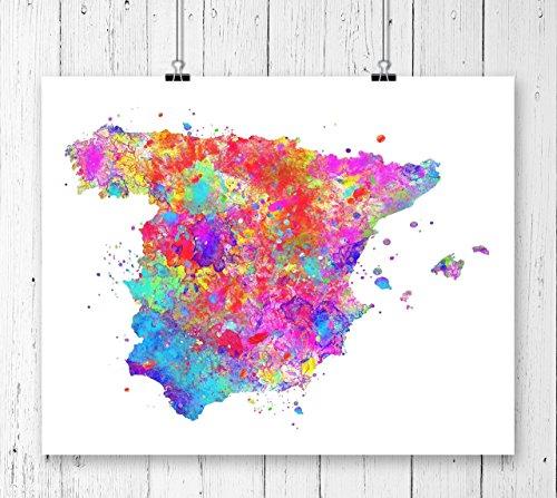Spain Map Art Print, Poster, Wall Art, Contemporary Art, Modern Wall Decor, Office Decor ( UNFRAMED) by Zuzi's