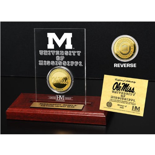 (The Highland Mint NCAA Mississippi Old Miss Rebels Etched Acrylic Coin, 9