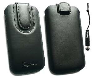 Emartbuy® Stylus Pack Para Samsung Galaxy Note 3 Negro / Negro Pu Del Premio Slide Cuero De La Bolsa / Caja / Manga / Titular (Tamaño 4Xl) Con Mecanismo Pull Tab + Metallic Mini Negro Stylus + Protector De Pantalla