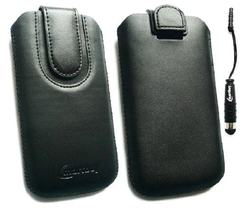 Emartbuy ® Stylus / Eingabestift Pack Für Apple Iphone 5c Schwarz / Schwarz Premium Pu Leder Slide In Pouch / Case / Sleeve / Halter (Größe X-Large) Mit Pull Tab Mechanism + Metallic Mini Schwarz Styl