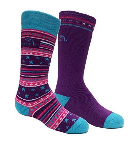 - Bridgedale Kid's merino ski Socks (2 Pack), Fuchsia/Blue, Medium