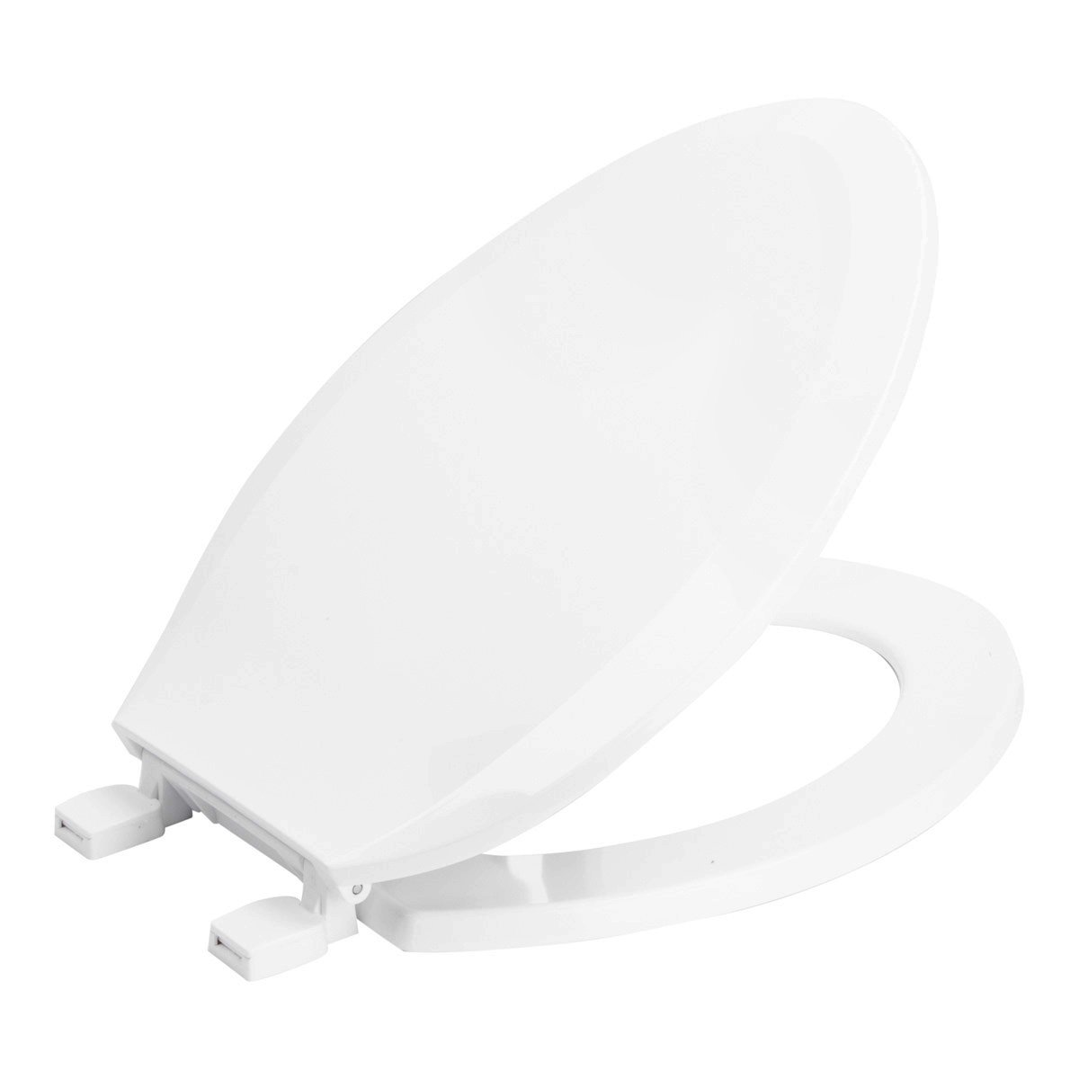 Elongated White Plastic Toilet Seat and Lid with Quick Release Hinges for Easy cleaning |Elongated shape | Heavy duty Plastic | White LDR