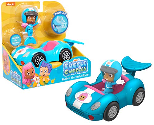 Bubble Guppies Molly's Fin-Tastic Racer Push Car - Vehicle Really Rolls, Features a Fin-Shaped Spoiler Which Moves Up and Down!