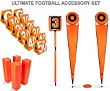 Ultimate Official Size Football Field Accessory Set - Includes 11 Yard Markers, 4 Pylons, and Down Marker with Chain!