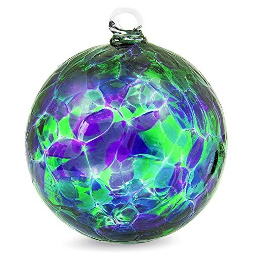 Friendship Ball Purple/Green/Blue 4 Inch Ornament Witch Ball by Iron Art Glass Designs
