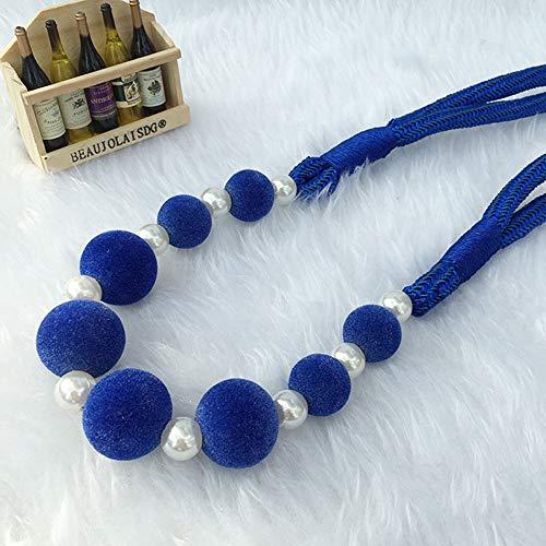 Fancy Bracelet Rope (KMSG 2pc Pearl Beaded Tie Backs Tassels Woolen Curtain Tieback Lanyard Strap Pearl Curtain Holdbacks Beaded Tassels Curtain Tiebacks Rope Holdbacks 8 Colors Navy Blue)