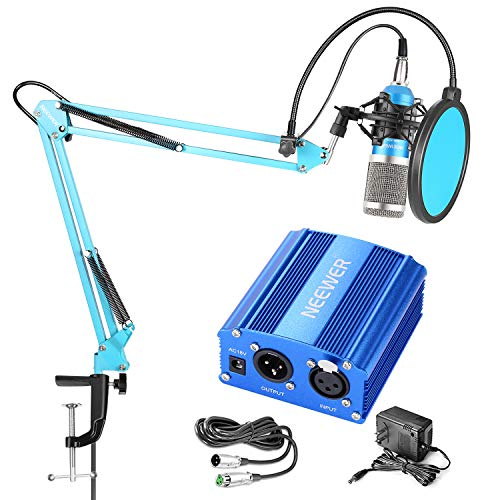 Neewer NW-800 Pro Condenser Mic and 48V Phantom Power Supply Kit with NW-35 Boom Scissor Arm Stand, Shock Mount and Pop Filter for Home Studio Sound Recording(Blue and Silver)