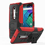 Moto X Pure Edition Case, MoKo Shock Absorbing Hard Cover Ultra Protective Heavy Duty Case with Holster Belt Clip + Built-in Kickstand for Moto X Pure Edition / Moto X Style - Red