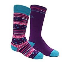 Bridgedale Kid's Merino Ski Socks (2 Pack), Fuchsia/Blue, Large