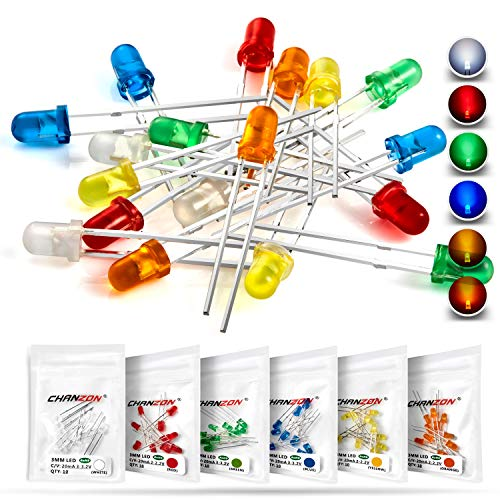 Chanzon 60 pcs(6 colors x 10 pcs) 3mm LED Diode Lights Assortment Kit Pack (Diffused Round Lens DC 3V 20mA) Lighting Bulb Lamp Assorted Variety Color Electronics Components Light Emitting Diodes Parts