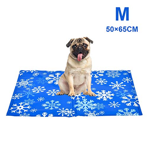 YGJT Dog Cooling Mat Medium 65x50cm, Durable Pet Cool Mat Non-Toxic Gel Self Cooling Pad, Great for Dogs Cats in Hot Summer (M(50x65cm))