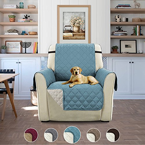 Plush Reversible Furniture Protector with Elastic Straps, Features Protect from Pets, Spills, Wear and Tear (Recliner: Stone Blue/Beige)-79'' by 68''