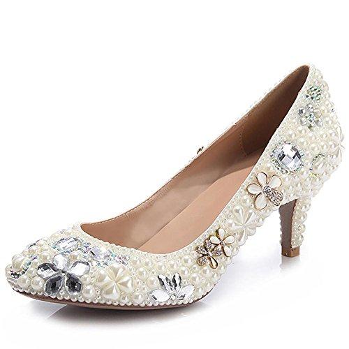 White Blanco Cristal Hecho Charol Bomba Perla Zapatos Mujeres Boda De SYYAN A Mano 7F6qwx