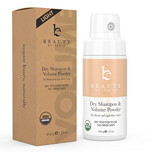 Organic Dry Shampoo Powder; for Instant Unwashed Volume and Style; Best for Light Blonde, Gray, White or Platinum Hair Colors; Clean, All Natural Scent Dry 'Poo for Those No Wash Days; 1.75oz