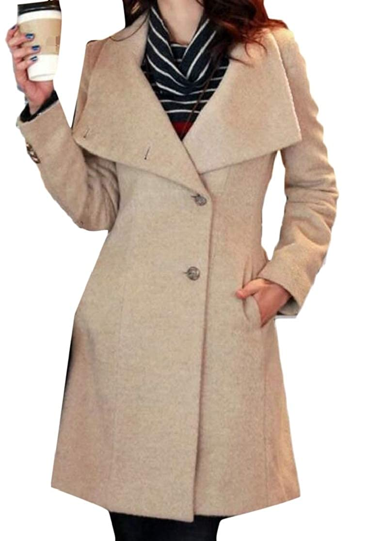 chenshijiu Womens Winter Lapel Wool Blend Single Breasted Pea Coat Trench Coat