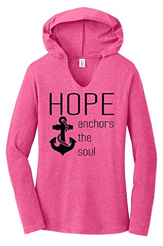 Comical Shirt Ladies Hope Anchors The Soul Inspirational Tee Fuchsia Frost ()