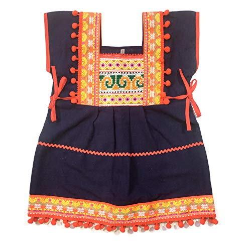 ARTIIDCO Unique Hmong Cotton Ethnic Thai Girl Dress Hand Made Embroidered Costume Traditional Pompoms 1 to 2-Year-Old Blue ()