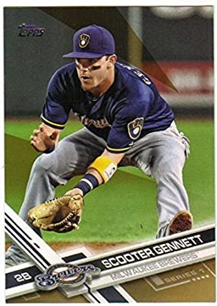 d13b772f67a Amazon.com  2017 Topps Gold  49 Scooter Gennett NM-MT  2017 Brewers ...