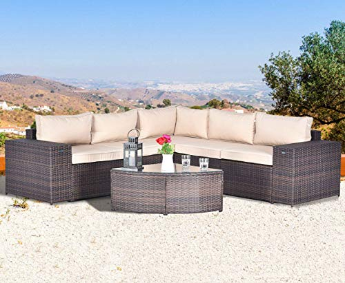 Gotland 6-Piece Outdoor Furniture Sectional Sofa & Glass Coffee Table,with Washable Sand Color Cushions for Backyard,Pool,Patio(No Dustcover)