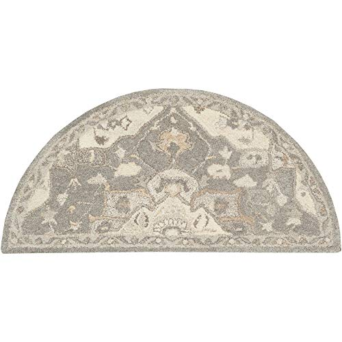 Tiwari Home 2' x 4' Floral Brown and Gray Hearth Wool Area Rug