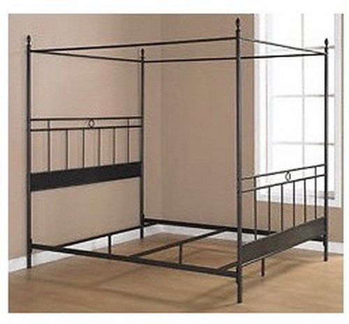 amazoncom black metal queen size canopy bed the frame has horizontal and vertical bars for a masculine look guaranteed add your own queen mattress for - Queen Bed Frame Black