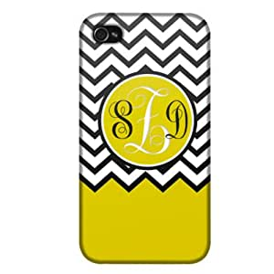 Monogram Apple iPhone 4 & 4S Chevron Black White Yellow Ribon Phone Case