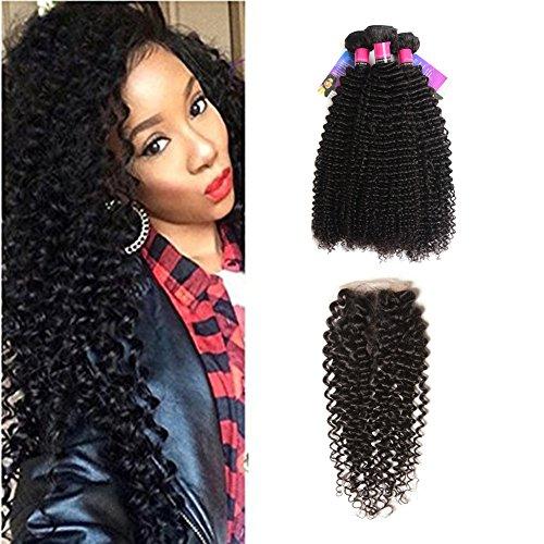 XS Hair Brazilian Curly Hair 3 Bundles With Closure Free Par