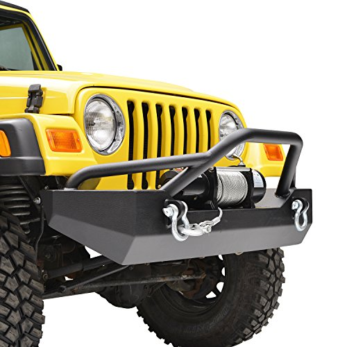 E-Autogrilles Jeep Wrangler TJ YJ Black Textured Off Road Front Bumper with D-rings