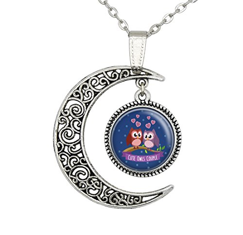 (Lan Jin Art Handcrafted Custom Moon Owl Pendant Owl Couple 20 in Necklace Jewelry Christmas Lover Gift)