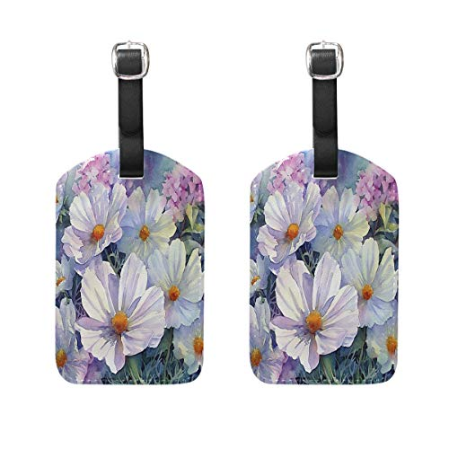 MUOOUM Beautiful Flower White Pink Luggage Tages Travel Labels Suitcase Bag Tag with Name Address Cards 2 Pcs Set -