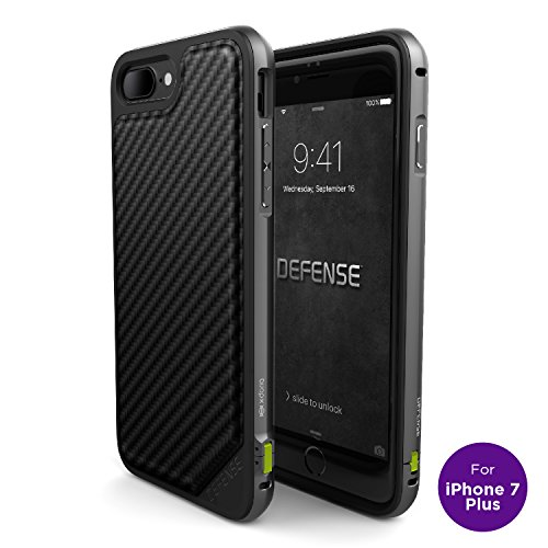 iPhone 7 Plus Case, X-Doria Defense Lux Series - Military Grade Drop Tested, Anodized Aluminum, TPU, and Polycarbonate Case for Apple iPhone 7 Plus, [Black Carbon Fiber]
