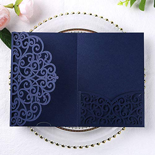 PONATIA 5.12 x 7.2 Inches 20 PCS Tri-Fold Laser Cut Wedding Invitation Pocket with Envelopes for Wedding Bridal Shower Engagement Birthday Invite (Navy Blue, 20pcs No Inner Sheet)