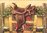 Western Saddle with Lights Boxed Holiday Cards