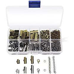 Dreamtop 370 Pcs Jewelry Findings Kit Ribbon Bracelet Bookmark Pinch Crimp Clamp Lobster Clasps Jump Rings Extender Chains