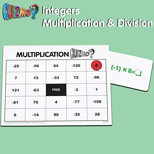 51ai14uN lL - Learning Advantage QUIZMO Advanced Elementary Math Series - Set of 6 Bingo-Style Math Games for Kids - Teach Fractions, Decimals, Math Vocabulary, Geometry, Place Value and Integers